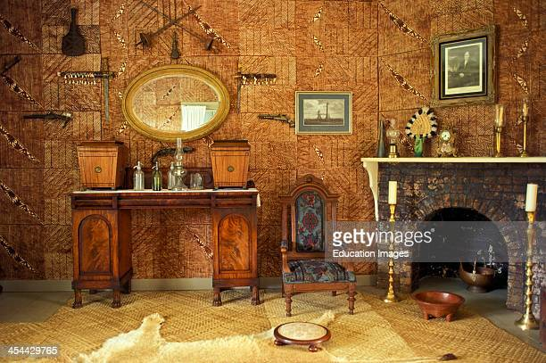 Western Samoa Island Of Upolu Villa Vailima Mansion Where Robert Louis Stevenson Lived From 18901894 and Where He Died Lounge Room W Lion Skin Rug...