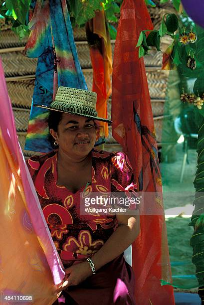 Western Samoa Savai'i Island Beach Colorful Pareos Sarongs Local Woman
