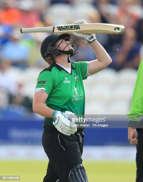 Western Storm's Anya Shrubsole appears frustrated as she walks off after getting out for 12 during the Kia Women's Super League Finals Day at Central...