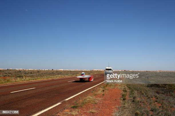 Western Sydney Solar Team vehicle 'Unlimited 20' from Australia races in the Challenger Class between Marla Bore and Coober Pedy on Day 5 of the 2017...
