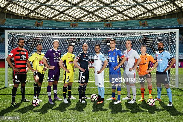 Western Sydney Wanderers captain Nikolai ToporStanley Vince Lia of Wellington Phoenix Roslyn Griffiths of Perth Glory Central Coast Mariners captain...