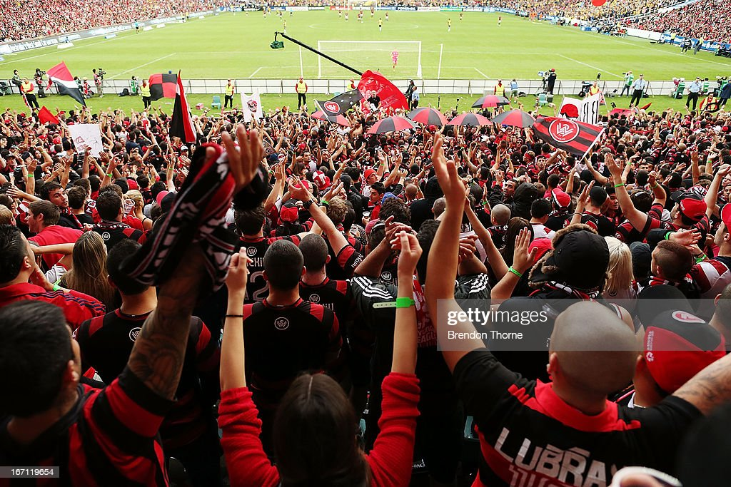 Western Sydney Wanderers fans cheer during the A-League 2013 Grand Final match between the Western Sydney Wanderers and the Central Coast Mariners at Allianz Stadium on April 21, 2013 in Sydney, Australia.