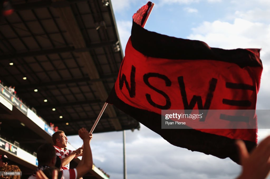 Western Sydney Wanderers fans cheer during the round 27 A-League match between the Newcastle Jets and Western Sydney at Hunter Stadium on March 29, 2013 in Newcastle, Australia.
