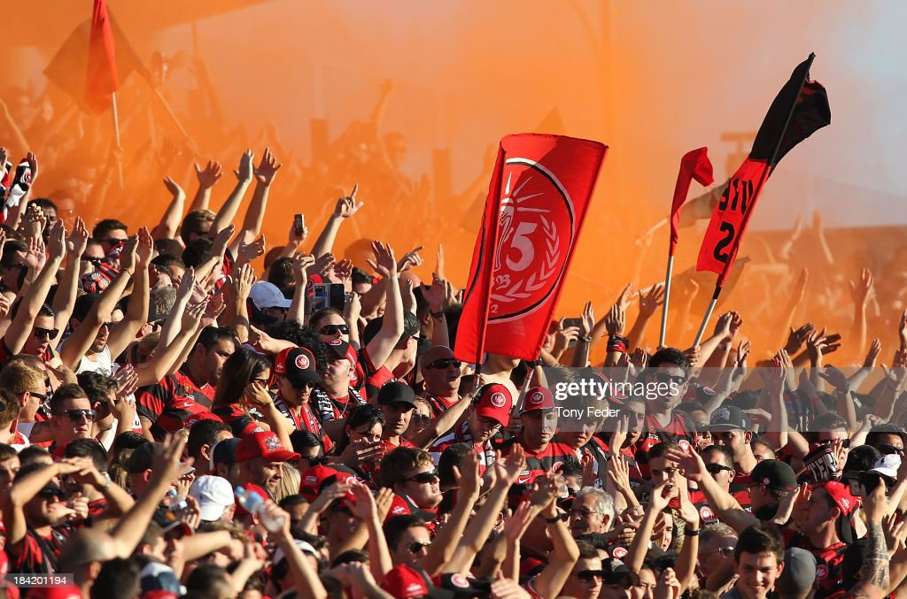 Western Sydney Wanderers fans during the round one A-League match between the Central Coast Mariners and the Western Sydney Wanderers at Bluetongue Stadium on October 12, 2013 in Gosford, Australia.