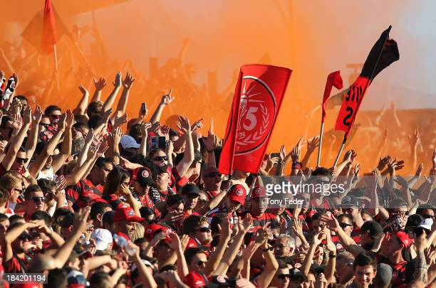 Western Sydney Wanderers fans during the round one ALeague match between the Central Coast Mariners and the Western Sydney Wanderers at Bluetongue...