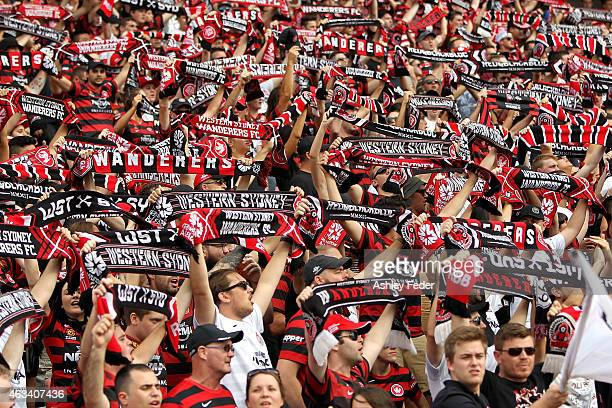 Western Sydney Wanderers fans show their support during the round 17 ALeague match between the Newcastle Jets and the Western Sydney Wanderers at...