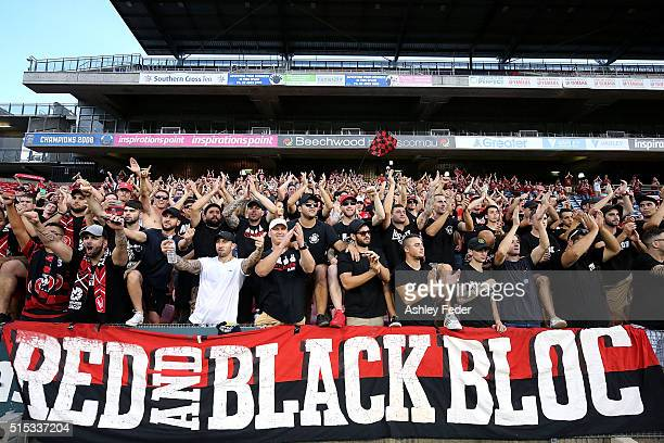 Western Sydney Wanderers fans support their team during the round 23 ALeague match between the Newcastle Jets and the Western Sydney Wanderers at...