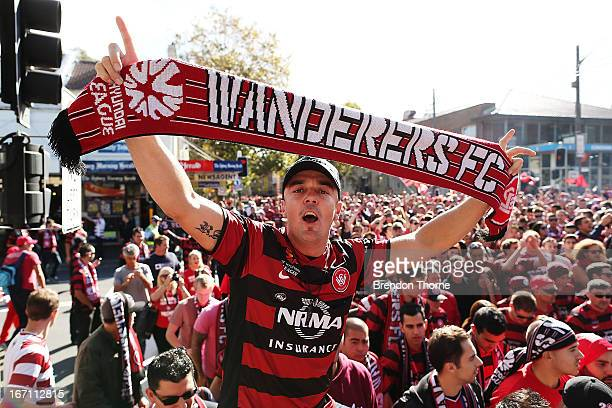 Western Sydney Wanderers fans walk to the stadium before the ALeague 2013 Grand Final match between the Western Sydney Wanderers and the Central...