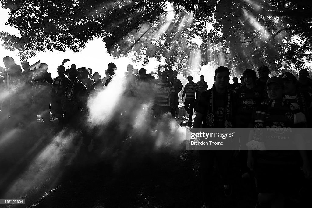 Western Sydney Wanderers fans walk to the stadium before the A-League 2013 Grand Final match between the Western Sydney Wanderers and the Central Coast Mariners at Allianz Stadium on April 21, 2013 in Sydney, Australia.