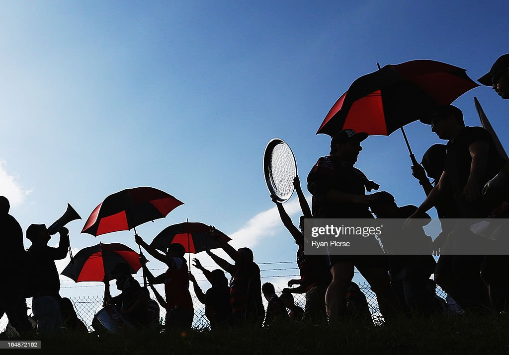 Western Sydney Wanderers fans walk to the stadium before the round 27 A-League match between the Newcastle Jets and Western Sydney at Hunter Stadium on March 29, 2013 in Newcastle, Australia.
