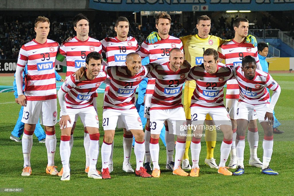 Western Sydney Wanderers players pose for photograph prior to the AFC Champions League Group H match between Kawasaki Frontale and Western Sydney Wanderers at Todoroki Stadium on April 1, 2014 in Kawasaki, Japan.