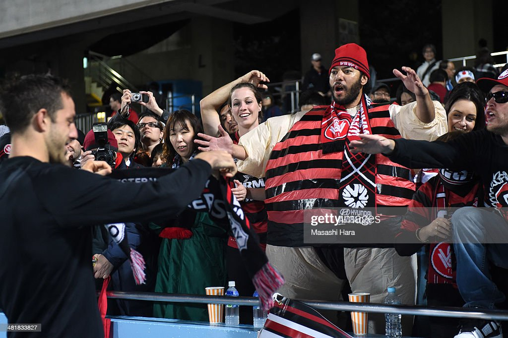 A Western Sydney Wanderers supporter in a Sumo suit after the AFC Champions League Group H match between Kawasaki Frontale and Western Sydney Wanderers at Todoroki Stadium on April 1, 2014 in Kawasaki, Japan.