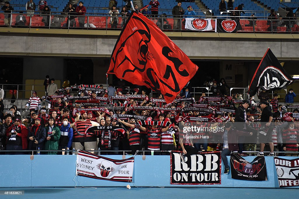 Western Sydney Wanderers supporters cheer after the AFC Champions League Group H match between Kawasaki Frontale and Western Sydney Wanderers at Todoroki Stadium on April 1, 2014 in Kawasaki, Japan.