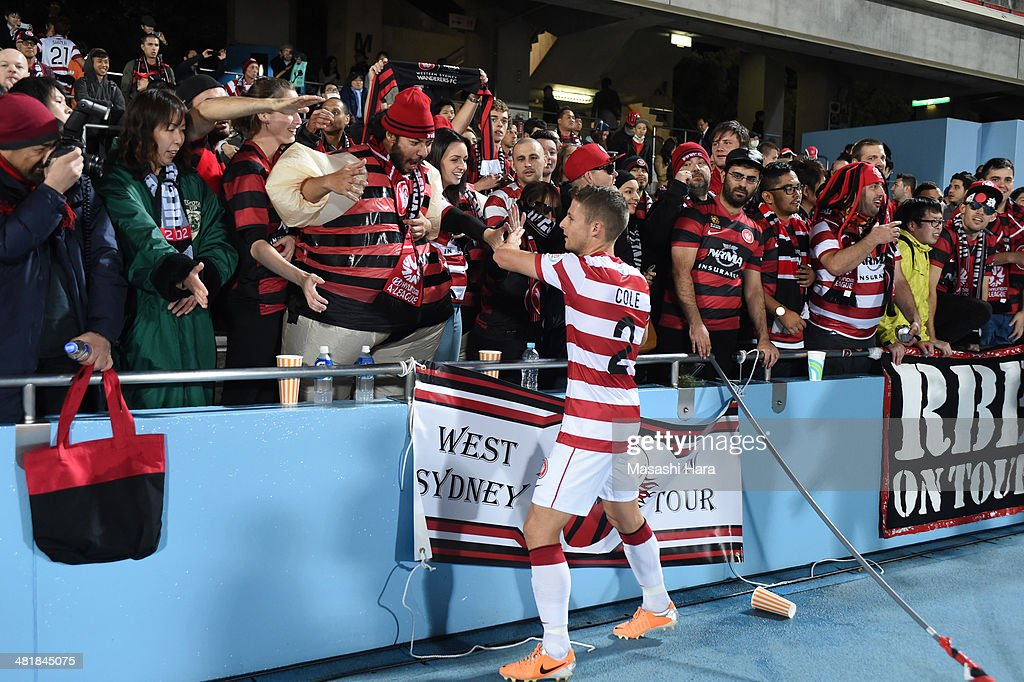 Western Sydney Wanderers supporters looks and Shannon Cole #2 greet after the AFC Champions League Group H match between Kawasaki Frontale and Western Sydney Wanderers at Todoroki Stadium on April 1, 2014 in Kawasaki, Japan.