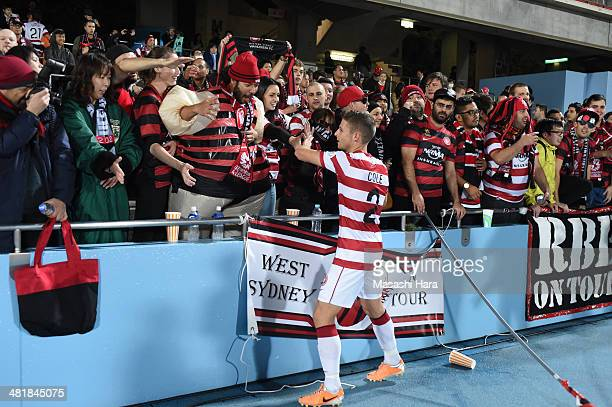 Western Sydney Wanderers supporters looks and Shannon Cole greet after the AFC Champions League Group H match between Kawasaki Frontale and Western...