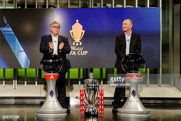 Westfield chairman Greg Miles and former Socceroo captain Paul Wade during the FFA Cup round of 32 draw announcement at the FFA Offices on June 30...