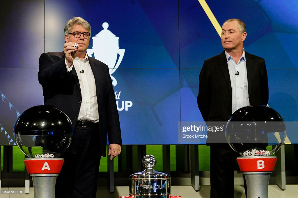 Westfield chairman Greg Miles (L) and former Socceroo captain Paul Wade during the FFA Cup round of 32 draw announcement at the FFA Offices on June 30, 2016 in Sydney, Australia.