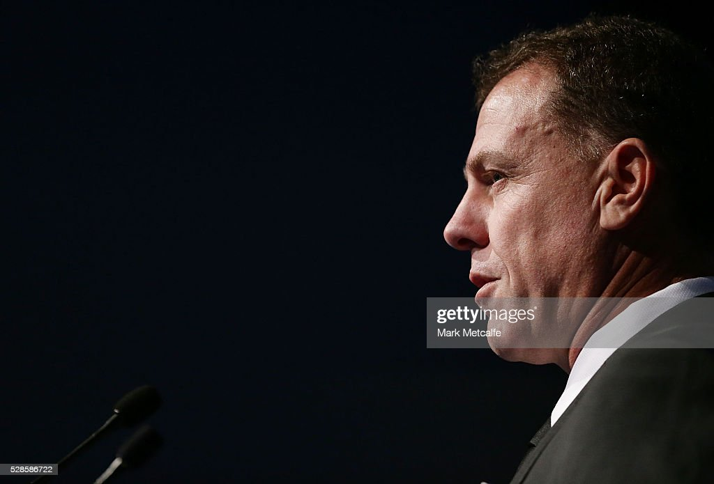 Westfield Matildas Head Coach Alen Stajcic speaks after becaming the ninth inductee into Sydney FC's Hall of Fame during the Sydney FC Sky Blue Ball at the Sydney Cricket Ground on May 6, 2016 in Sydney, Australia.
