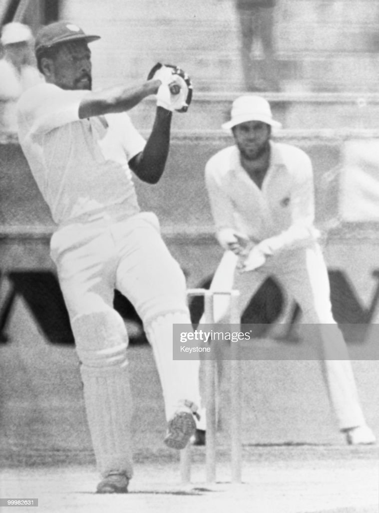 West-Indian cricketer <a gi-track='captionPersonalityLinkClicked' href=/galleries/search?phrase=Viv+Richards&family=editorial&specificpeople=622151 ng-click='$event.stopPropagation()'>Viv Richards</a> batting during his innings of 140 against Australia on the first day of the First Test at Brisbane Cricket Ground, Brisbane, Australia, 1st December 1979.