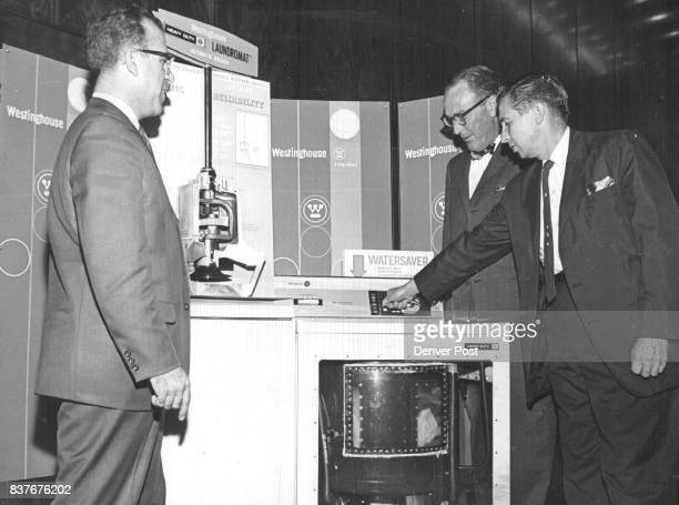 Westinghouse Introduces Washer A E Last right national sales manager points out details in a cutaway model of a Westinghouse washer to Roxie Pomarico...
