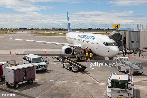 Westjet Airplane at Vancouver International Airport