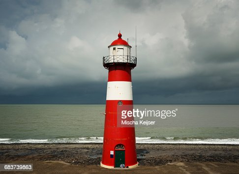Westkapelle lighthouse before the rains starts falling, Westkapelle, Zeeland, Netherlands