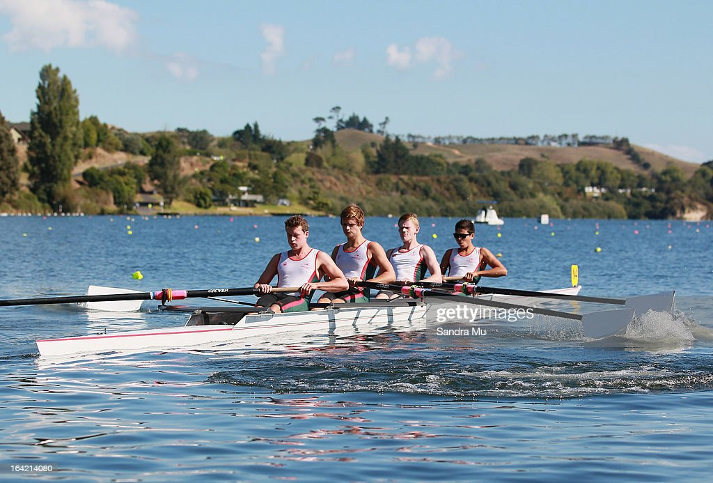 Westlake Boys High School U16 four race in the first semi final during day four of the Maadi Cup at Lake Karapiro on March 21, 2013 in Cambridge, New Zealand.