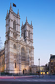 Westminister Abbey at dusk; London; England