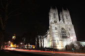 Westminster Abbey is illuminated at night on March 28 2012 in London England
