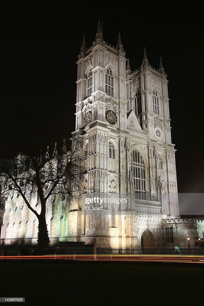 Westminster Abbey is illuminated at night on March 28, 2012 in London, England.