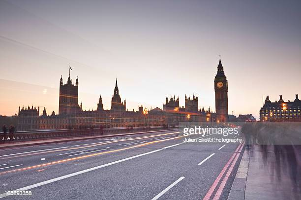 Westminster Bridge and the Houses of Parliament.