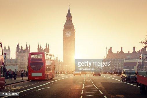 Westminster Bridge at sunset, London, UK : Stock Photo