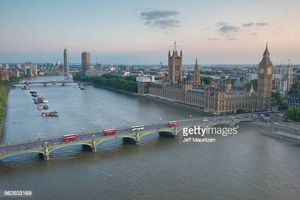 Westminster Bridge, Big Ben and the Houses of Parliament in London, England.