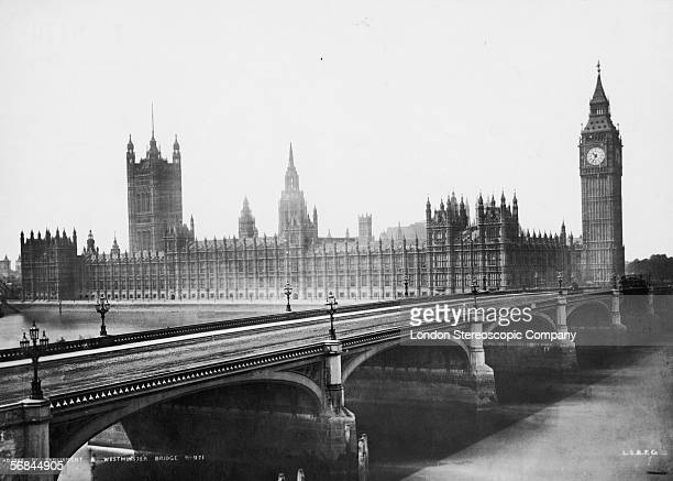 Westminster Bridge London with the Palace of Westminster and the clocktower of Big Ben in the background circa 1889