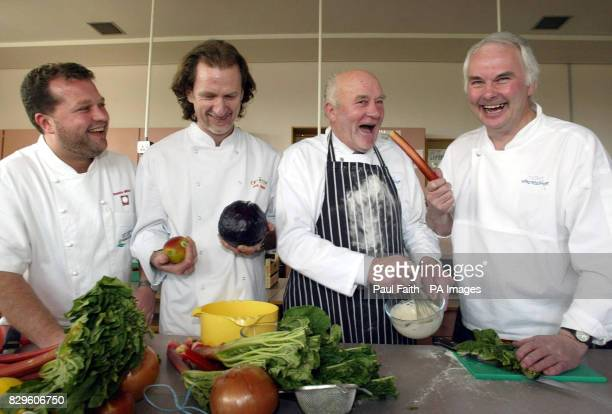 Westminster Candidate for East Antrim Roy Beggs with celebrity chefs Robbie Millar Paul Rankin and Nick Price
