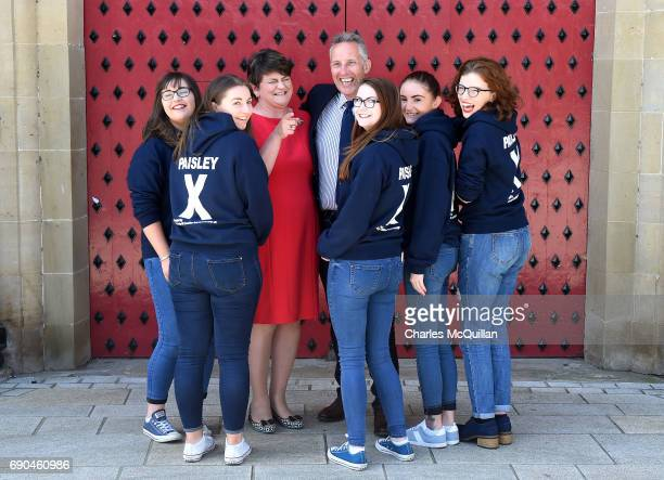 Westminster candidate Ian Paisley Junior jokes with DUP leader Arlene Foster as they are pictured with some of Paisley Junior's election canvassers...