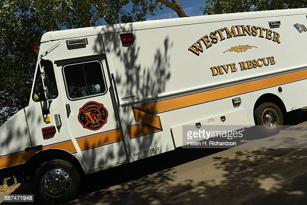 Westminster Dive Rescue truck sits near Standley Park where divers searched nearby Standley Lake for signs of missing teenager Alice Caver on August...