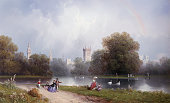 Westminster from St James's Park by Carlo Bossoli