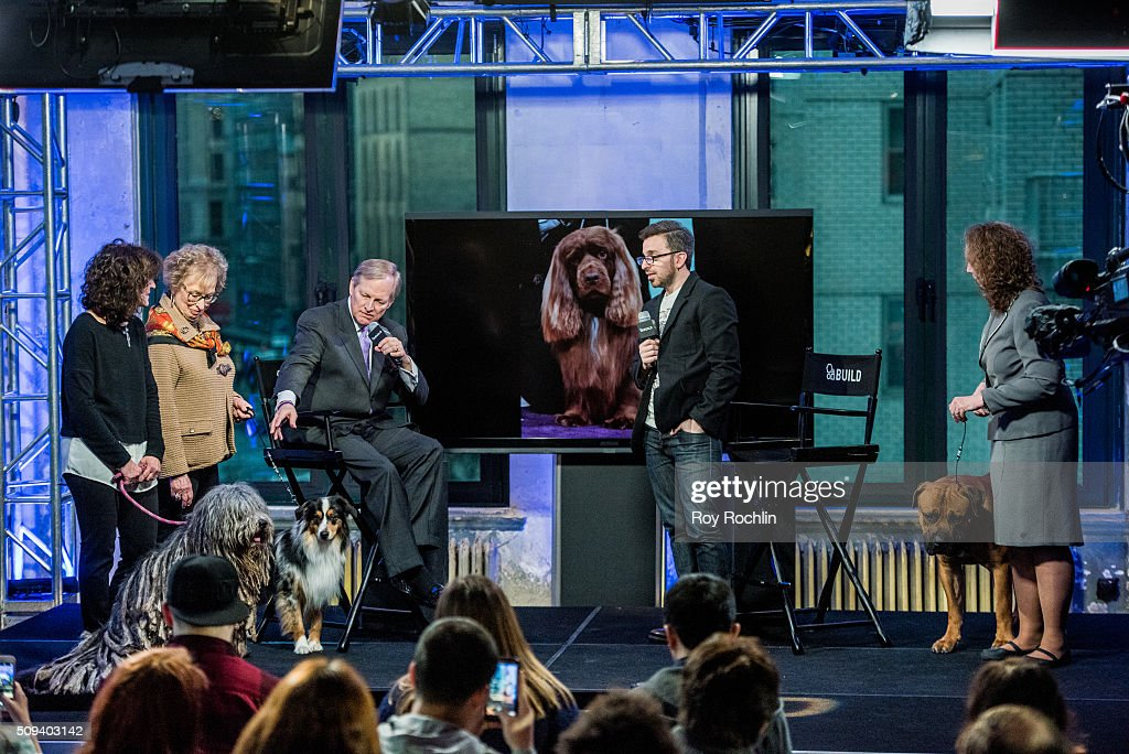 Westminster Kennel Club Dog Show host David Frei discusses the upcoming 140th Show with three dogs that will be in the competition at AOL Studios In New York on February 10, 2016 in New York City.