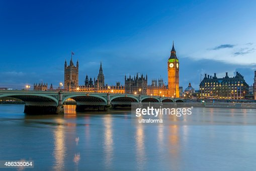 Westminster Palace in London at dusk