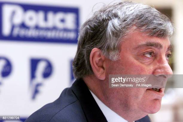 Westminster Police Federation chairman Fred Broughton talks to the press at Millbank Friday February 22 as police officers in England and Wales sent...