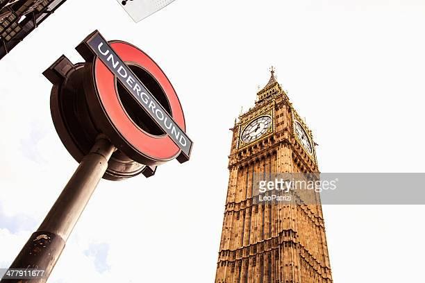 Westminster tube station under the Big Ben
