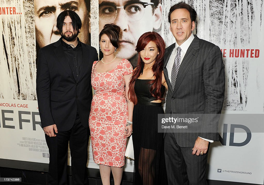 Weston Cage, Danielle Cage, Alice Kim and Nicolas Cage attend the UK Premiere of 'The Frozen Ground' at Vue West End on July 17, 2013 in London, England.