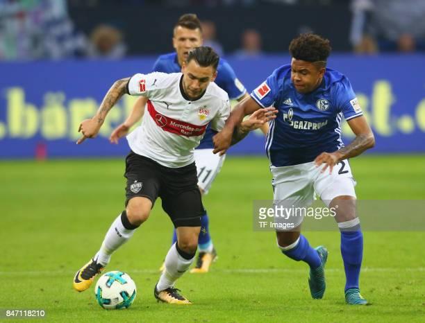 Weston James Earl McKennie of Schalke and Anastasios Donis of Stuttgart battle for the ball during the Bundesliga match between FC Schalke 04 and VfB...