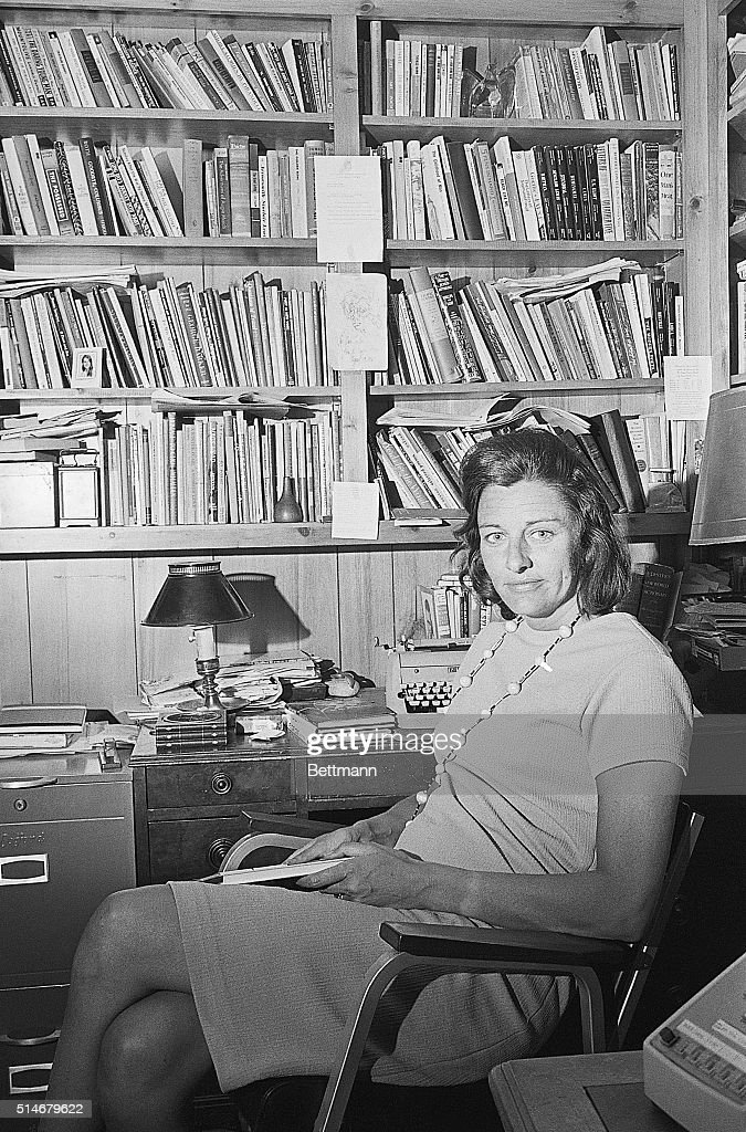 Poet Mrs Anne Sexton winner of the Pulitzer Prize for her third major book of poems called 'Live or Die' talks with friends on phone after hearing...