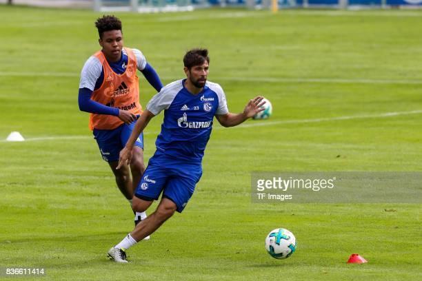 Weston McKennie of Schalke and Coke of Schalke battle for the ball during the Training Camp of FC Schalke 04 on July 27 2017 in Mittersill Austria