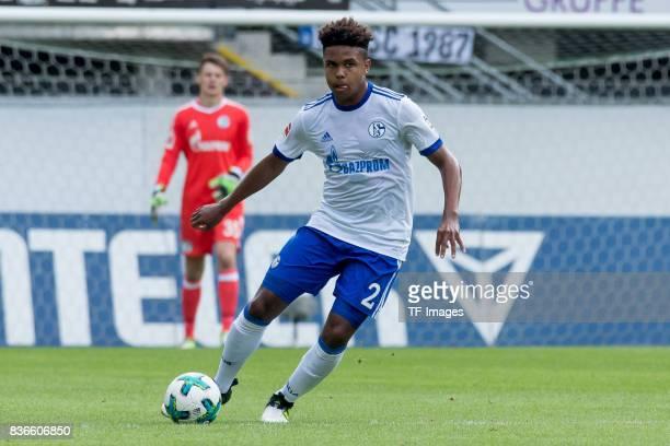 Weston McKennie of Schalke controls the ball during the preseason friendly match between SC Paderborn and FC Schalke 04 at BentelerArena on July 15...