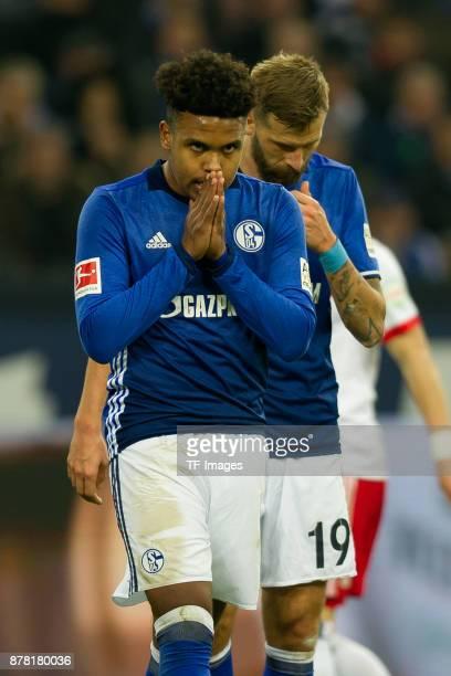 Weston McKennie of Schalke gestures during the Bundesliga match between FC Schalke 04 and Hamburger SV at VeltinsArena on November 19 2017 in...