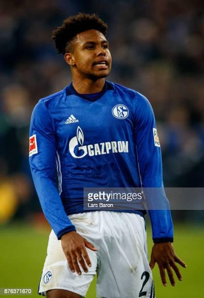 Weston McKennie of Schalke reacts during the Bundesliga match between FC Schalke 04 and Hamburger SV at VeltinsArena on November 19 2017 in...