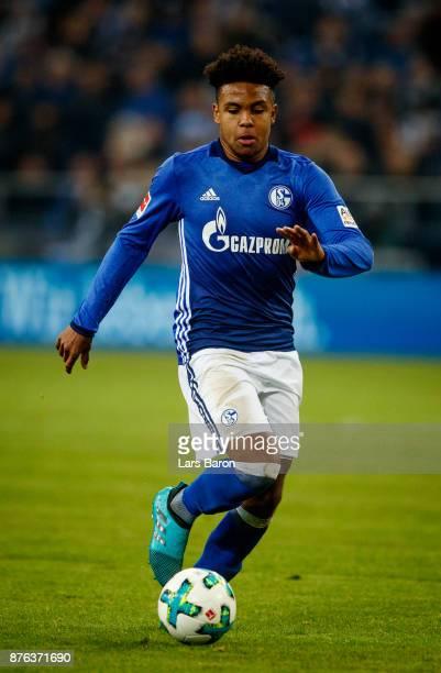 Weston McKennie of Schalke runs with the ball during the Bundesliga match between FC Schalke 04 and Hamburger SV at VeltinsArena on November 19 2017...